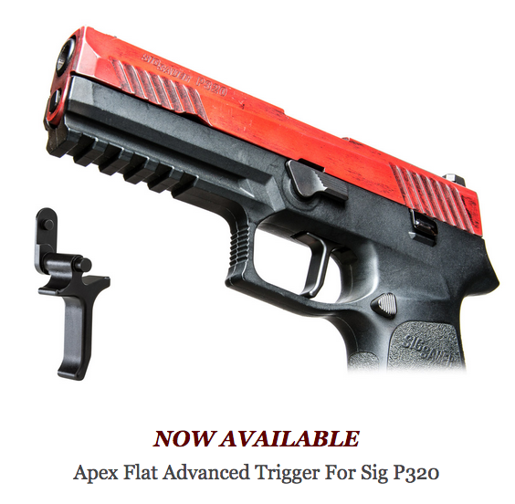 Apex Now Shipping New Flat Advanced Trigger for Sig P320