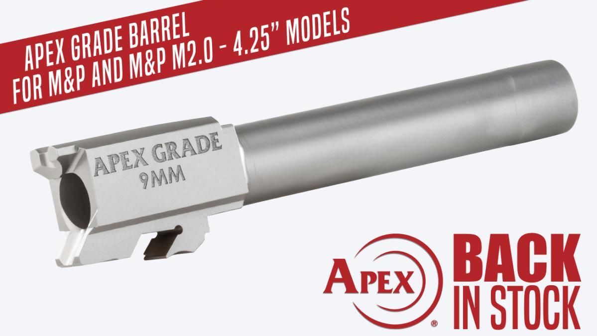 "Back In Stock, Apex's 4.25"" Semi Drop-In Barrel for M&P Pistols"
