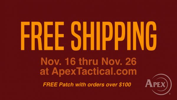 Apex Offers Free Shipping For Online Orders Nov. 16 Thru Nov. 26