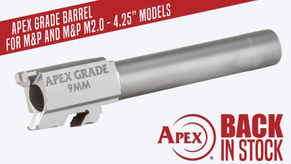 "Back In Stock, Apex's 4.25"" Semi Drop-In Barrel for M&P Pistols"
